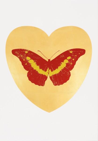 Damien Hirst, I Love You - gold leaf, poppy red, oriental gold, 2015