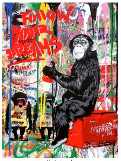 Mr. Brainwash-Every Day Life - Follow Your Dreams (Banksy Monkey)