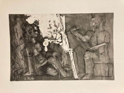 Pablo Picasso, Peintre à son chevalet, avec un modèle assis, 1965