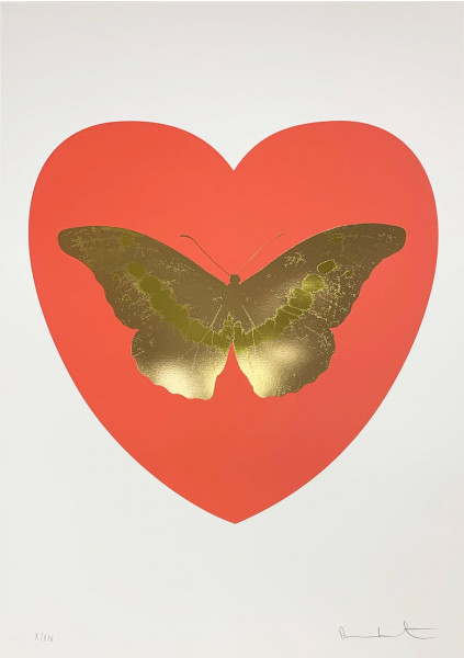 Damien Hirst, I Love You - Coral/Cool Gold/Oriental Gold, 2015