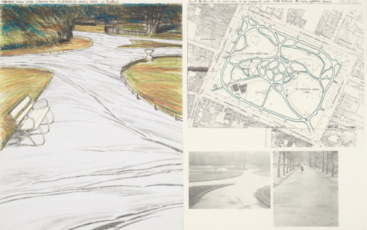 Christo, Wrapped Walk Ways, (Project for St Stephen's Green Park, Dublin), 1983