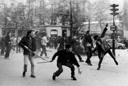 Bruno Barbey, Students Hurling Projectiles Against the Police, 1968