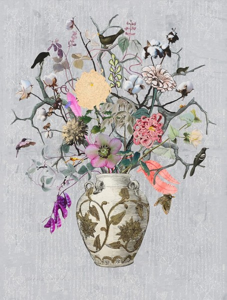 Jane Hammond, Korean Vase with Hyacinth Beans, Cotton and Chrysanthemum, 2016