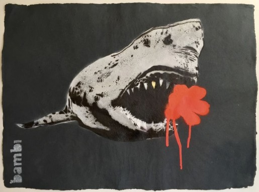 Bambi, Gold Tooth Shark with Poppy Red Flower Power, 2016