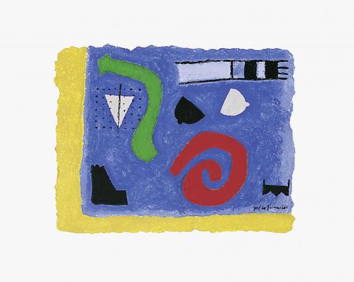 José de Guimarães, GREEN AND RED SYMPHONY IN BLUE!, 1994