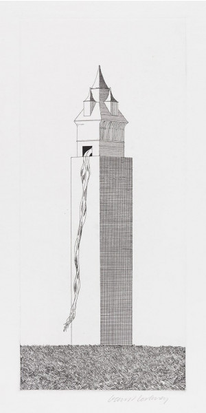 David Hockney, The Tower Had One Window (Rapunzel), 1969