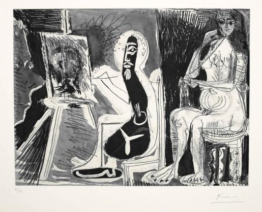 Pablo Picasso, Dans l'Atelier (Peintre avec le portrait d'un jeune garçon, dans son atelier), 1963