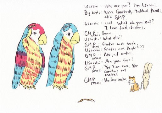 Atsushi Kaga, 2 Genetically modified parrots, 2012