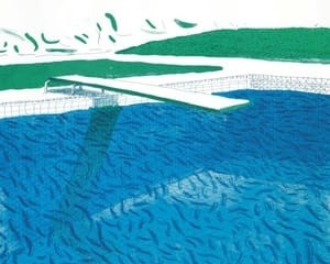 Lithographic Water Made of Lines, Crayon, and Two Blue Washes by David Hockney