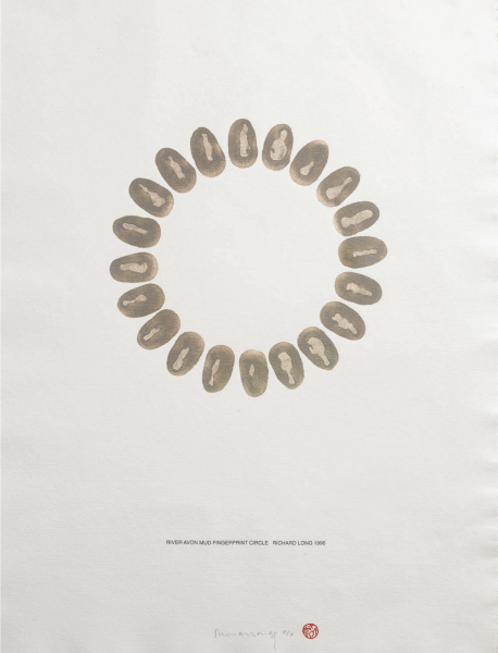 Richard Long, River Avon Mud Fingerprints Circle, 1996