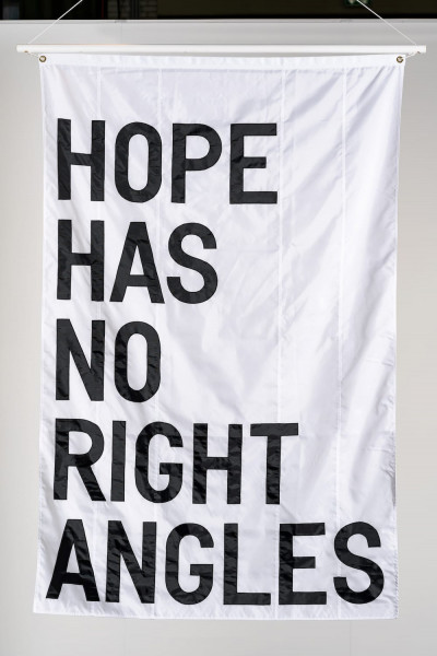 Rirkrit Tiravanija, Untitled (HOPE HAS NO RIGHT ANGLES), 2019
