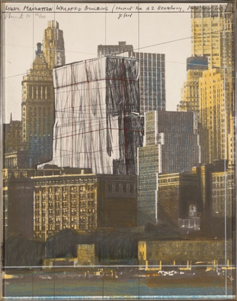 Christo & Jeanne-Claude, Lower Manhattan Wrapped Building (Project for 2 Broadway, New York), 1984