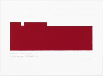 Pantone 187C (12 Warm Red, 4 Rubine Red, 1 Black) by Marcia Hafif
