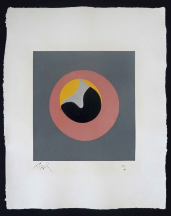 """Untitled, from """"Le Soleil Recerclé"""" (Pink Eye in Grey Square) by Hans Arp"""