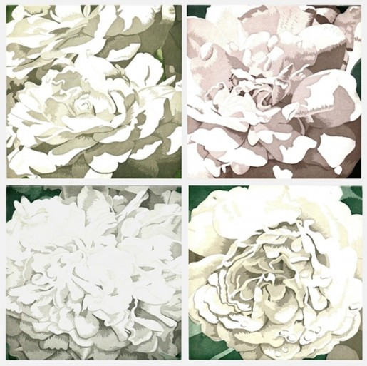 Julia Jacquette, Four Pieces of White (Suite of Four), 2003