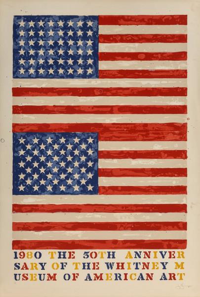 Jasper Johns, Two Flags (Whitney Anniversary), 1980