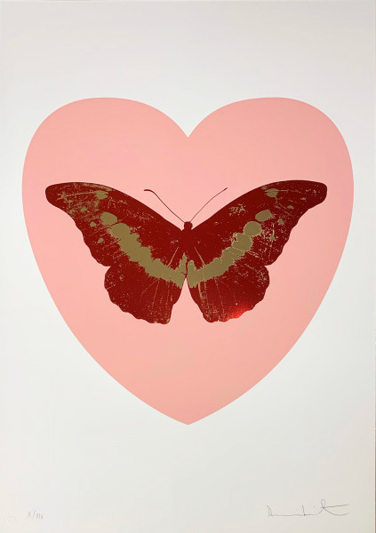 Damien Hirst, I Love You - Pink/Poppy Red/Cool Gold, 2015