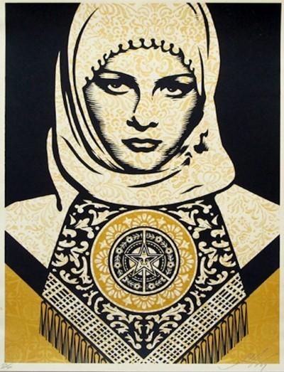 Shepard Fairey-Arab Woman (Gold)