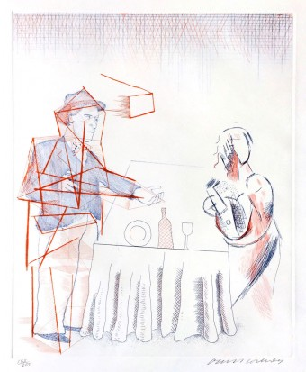"Figures with Still Life (from ""The Blue Guitar"" portfolio) by David Hockney"