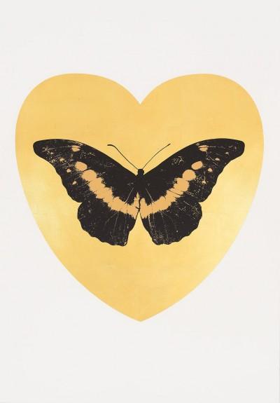 I Love You - gold leaf, black, cool gold by Damien Hirst