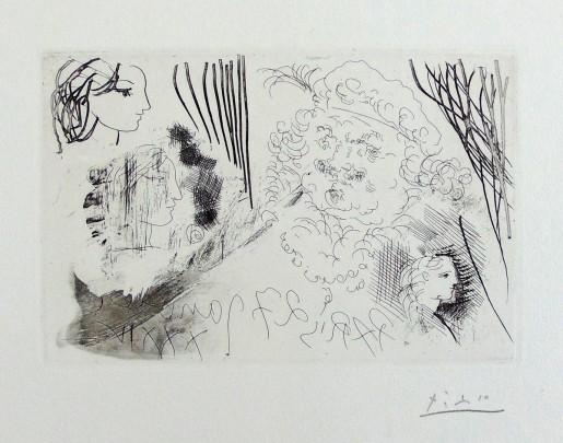 Pablo Picasso, Rembrandt and Women's Heads | Rembrandt et Têtes de Femmes, from: La Suite Vollard, 1934
