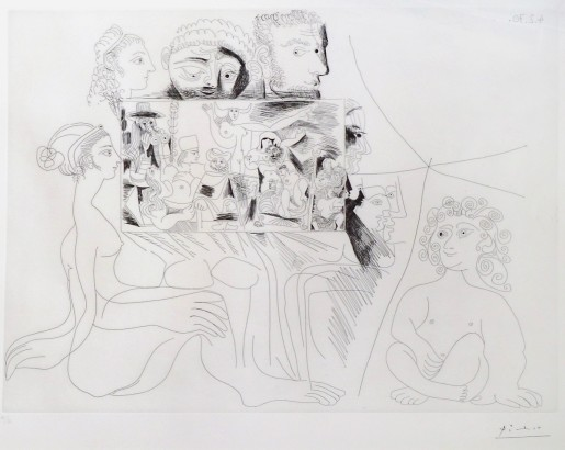 Pablo Picasso, Woman, Child and Observers Viewing Painting, 1970