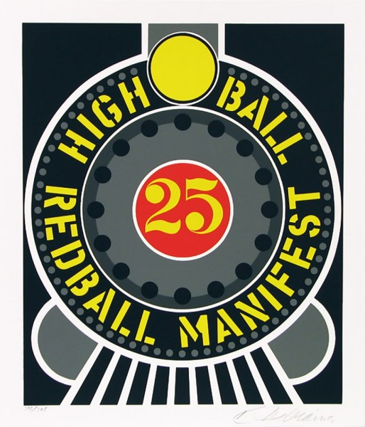 "Robert Indiana, Highball on the Redball Manifest, from the Portfolio ""The American Dream"", 1996"