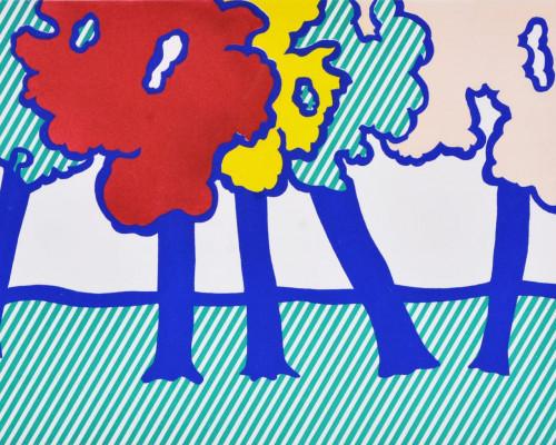 Illustration for 'Or Automnal: Arrière-Saison en Nouvelle Angleterre', from La Nouvelle Chute de lAmérique by Roy Lichtenstein