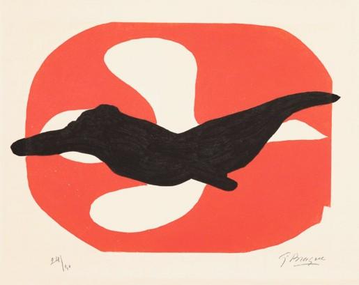 Georges Braque, Oiseau blanc et oiseau noir sur fond rouge, 1962