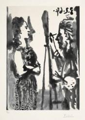 Peintre et modèle en robe imprimée