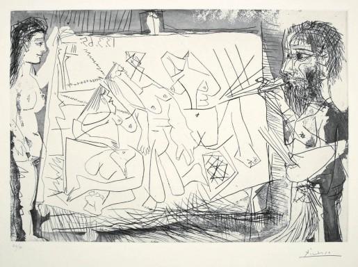 Pablo Picasso, Dans l'Atelier (Peintre à son chevalet avec un modèle), 1965