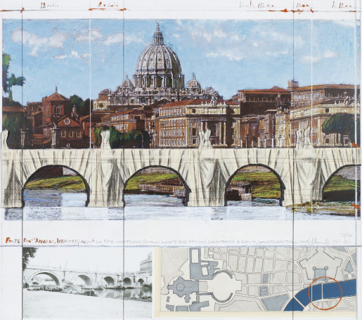Christo, Wrapped Ponte Sant Angelo (Project for Rome), 2011