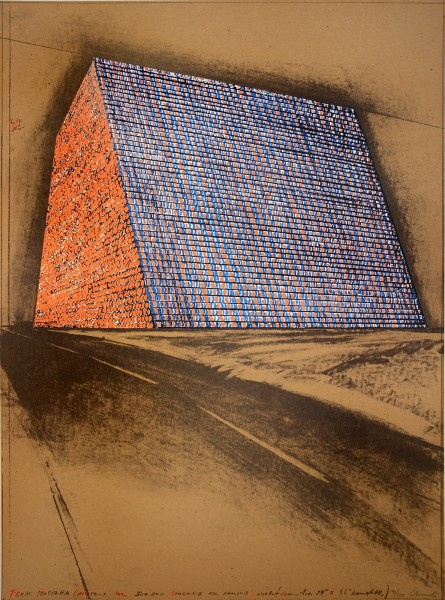 """Christo, Texas Mastaba, Project for 500,000 Stacked Oil Drums, from the Portfolio """"America: The Third Century"""", 1975"""