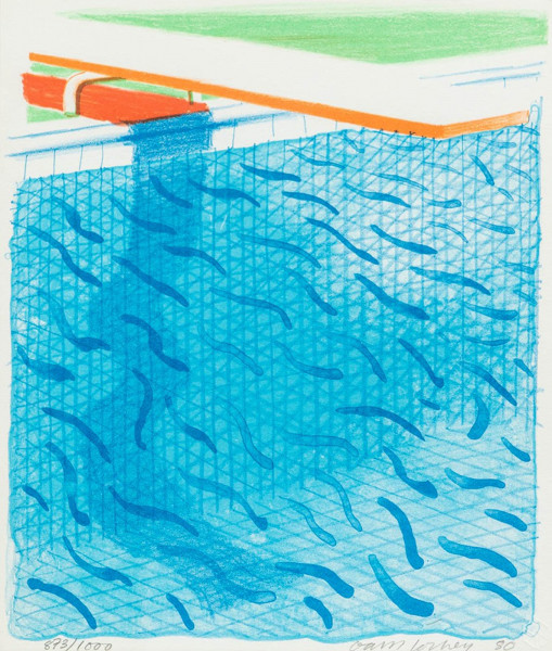 David Hockney, Pool Made with Paper and Blue Ink for Book, 1980