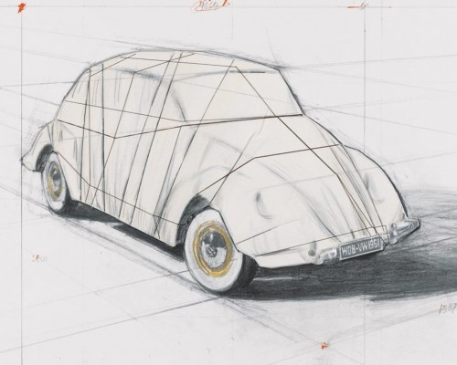 Wrapped Volkswagen (Project for 1961 Volkswagen Beetle Saloon) by Christo
