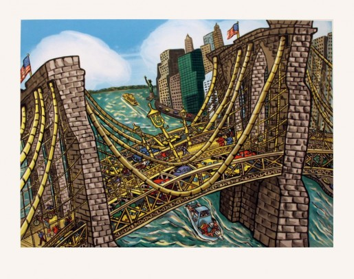 Red Grooms, Brooklyn Bridge Bustle, 2002