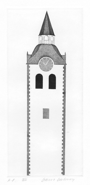 David Hockney, The Church Tower and Clock (Fundevogel), 1969