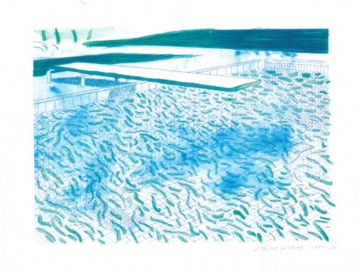 David Hockney, Lithograph of Water Made of Lines and a Green Wash, 1978/1980