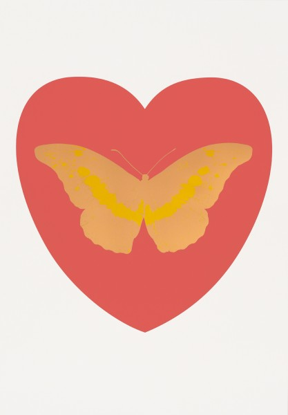 Damien Hirst, I Love You - coral, cool gold, oriental gold, 2014
