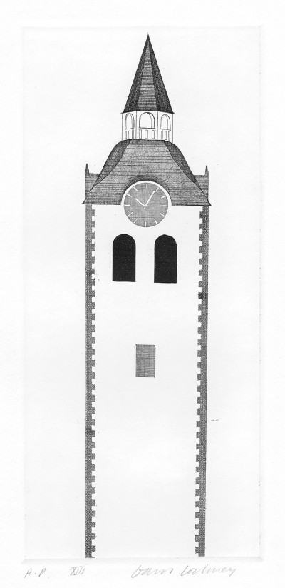 The Church Tower and Clock (Fundevogel) by David Hockney
