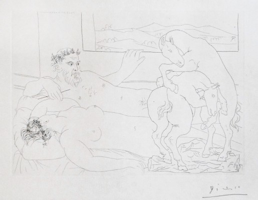 Pablo Picasso, Resting Sculptor III from Suite Vollard,  plate 64, 1933