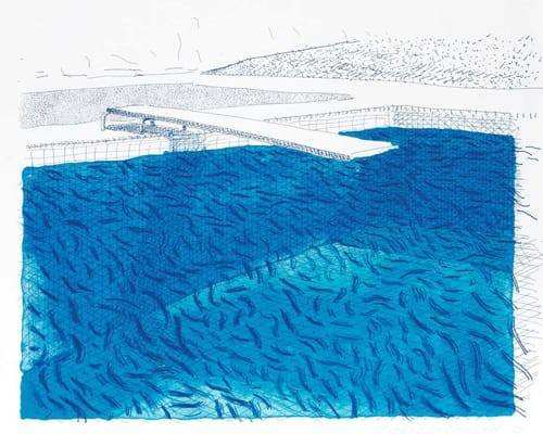 Lithograph of Water Made of Lines, Crayon, and Two Blue Washes Without Green Wash by David Hockney