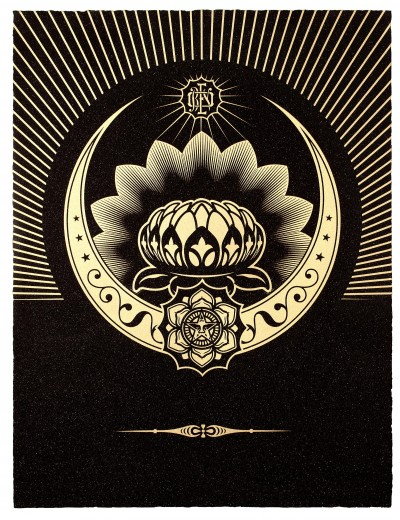 Shepard Fairey-Obey Lotus Crescent (Black & Gold)