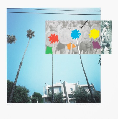 The Overlap Series: Palmtrees and Building (with Vikings)  by John Baldessari