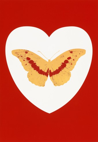 I Love You - white, red, cool gold, poppy red by Damien Hirst