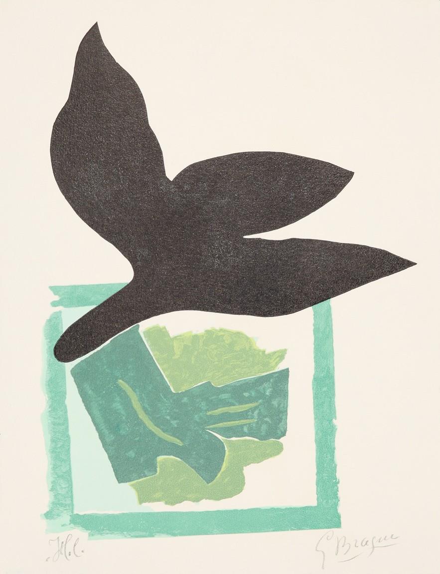 buy georges braque oiseau noir sur fond vert. Black Bedroom Furniture Sets. Home Design Ideas