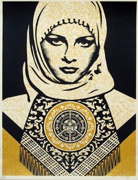 Shepard Fairey, Arab Woman (Gold), 2008