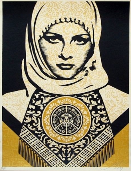 Shepard Fairey, Arab Woman (Gold), 2008