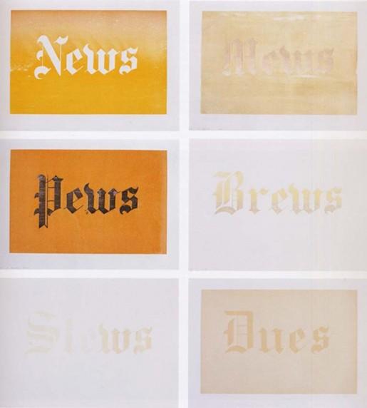 Ed Ruscha, News, Mews, Pews, Brews, Stews & Dues, 1970