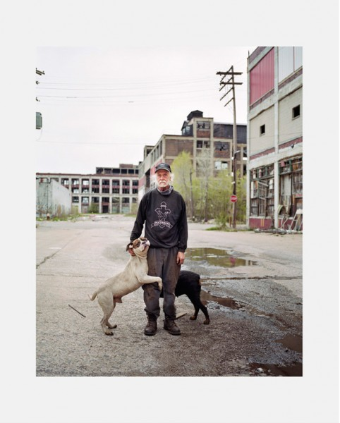 Dawin Meckel, man with dog, Detroit, from DownTown - Detroit, 2009